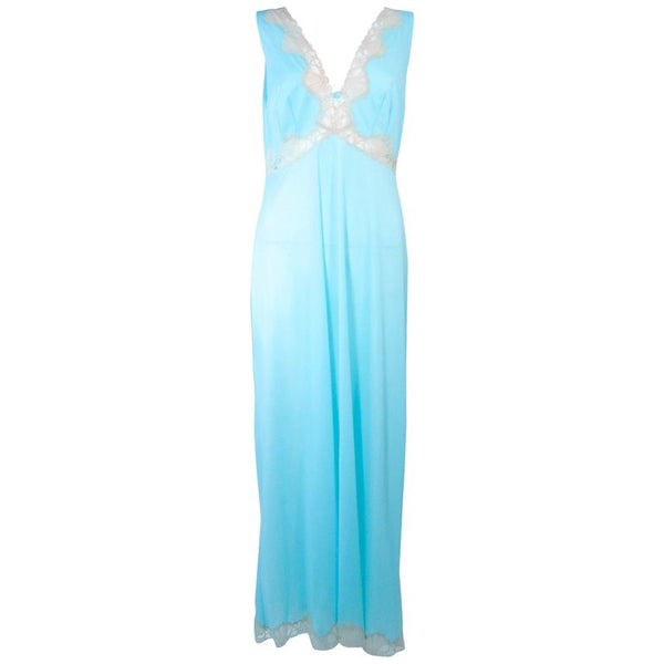 EMILIO PUCCI Poly Jersey Blue Lace Slip Dress Size M