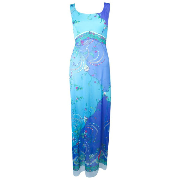 EMILIO PUCCI Blue & Purple Abstract Print Dress Size M