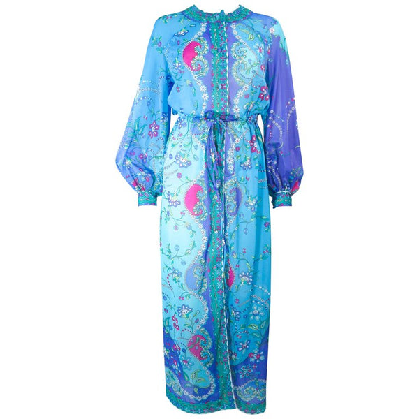 EMILIO PUCCI Blue, Purple Abstract Print Long Sleeve Dress Size M