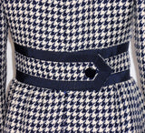 JEAN PATOU 1960s Wool Houndstooth Day Dress with Pockets