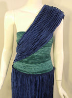 MARY MCFADDEN 1980s Blue and Teal One Shoulder Gown