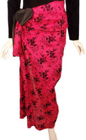 GIVENCHY 1980s Black Velvet Long Sleeve with Drape Pink Gown Size 4
