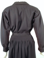 GEOFFREY BEENE  2 pc Navy Blue Pintuck Seam Detail Blouse & Skirt