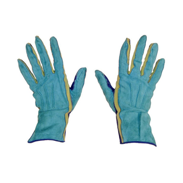 YVES SAINT LAURENT 1980s  Blue Green Suede Gloves