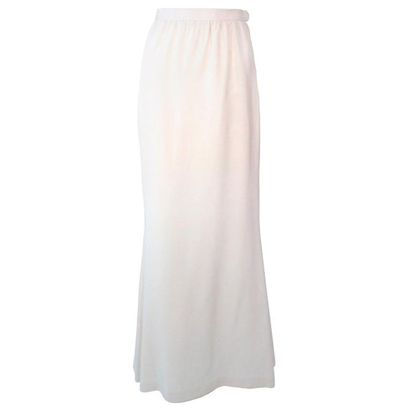 YVES SAINT LAURENT White Silk Full Length Mermaid Maxi Skirt Size 38