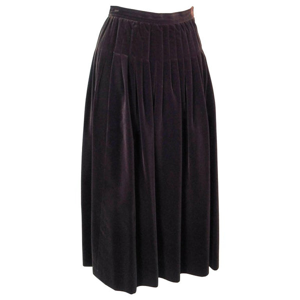 YVES SAINT LAURENT Brown Velvet Pleated Flare Skirt Size 36
