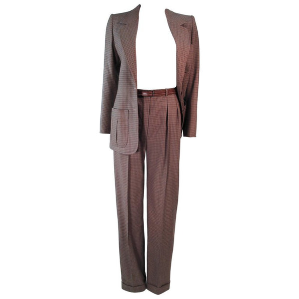 YVES SAINT LAURENT Classic 3 pc Brown Pantsuit with Belt