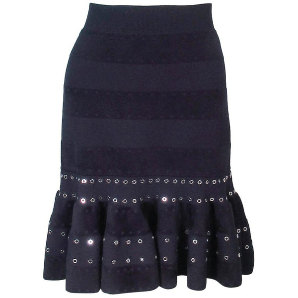 ALEXANDER MCQUEEN Black Stretch Fitted Flare Skirt w/ Rivets Size 4-8