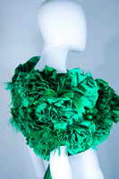 "ELIZABETH MASON COUTURE Silk Green ""Rose"" Wrap with Feathers"