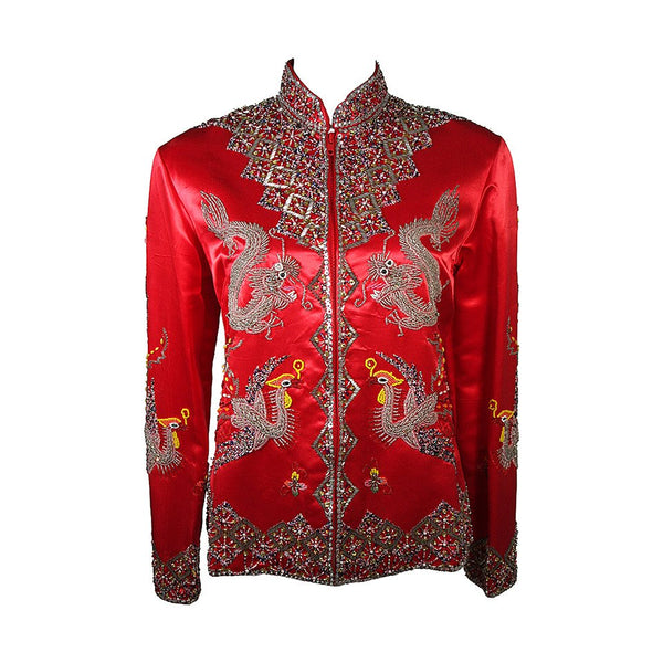 DYNASTY Red Silk Hand Beaded Sequined Dragon and Phoenix Jacket