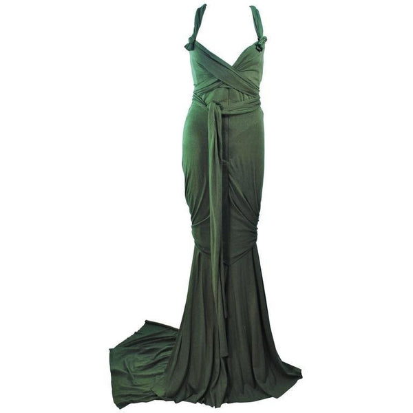 ELIZABETH MASON COUTURE Green Jersey Eco Chic Draped Gown
