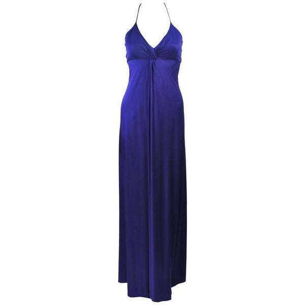 ELIZABETH MASON COUTURE Purple Silk Jersey Draped Halter Gown