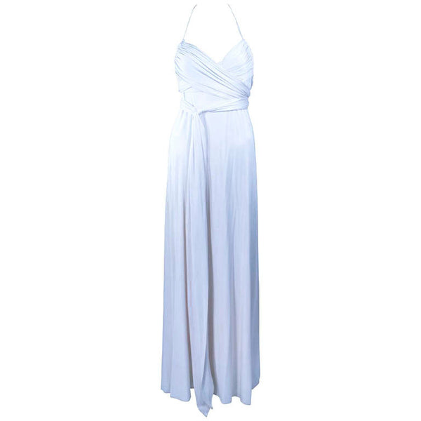 ELIZABETH MASON COUTURE White Silk Jersey Draped Gown