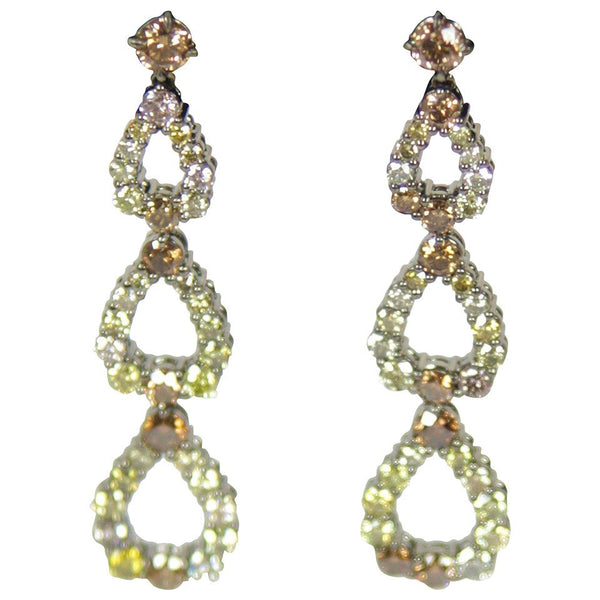 Black Rhodium Fancy Color Diamond Gold Drop Earrings