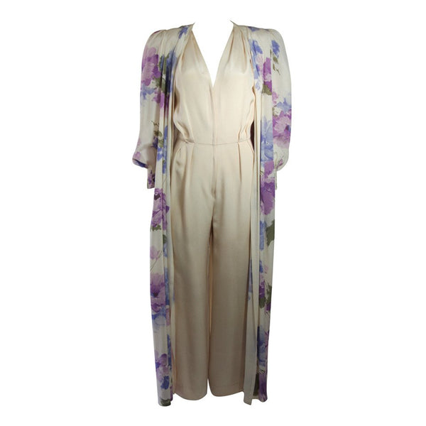 NOLAN MILLER Attributed Silk Jumpsuit Ensemble with Coat