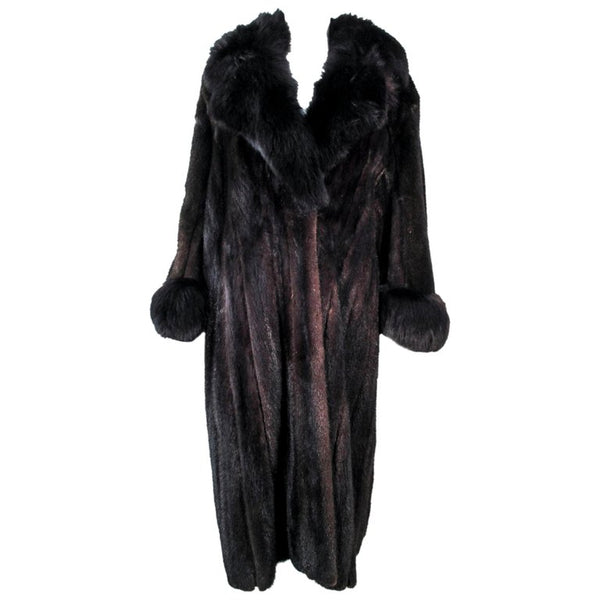 CUSTOM Dark Brown Mink Coat with Fox Fur Cuffs and Collar Size 8-12