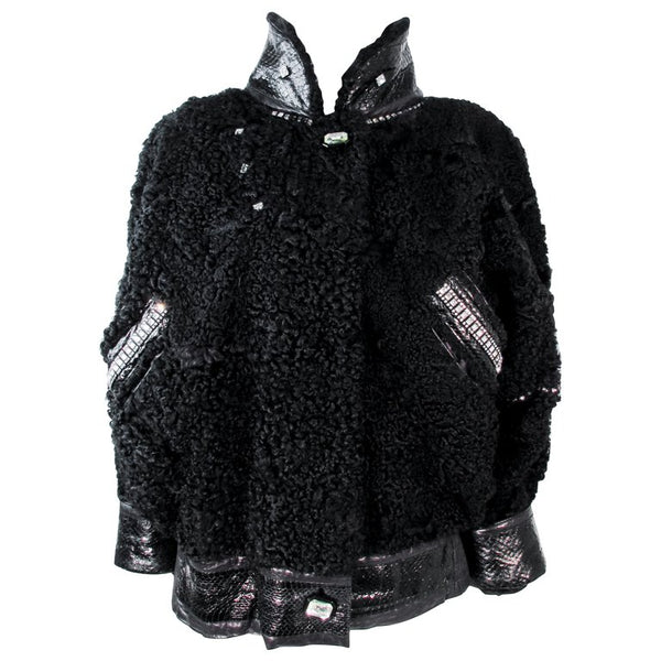JACQUES SAINT LAURENT Black Jacket w/ Rhinestones Trim 38