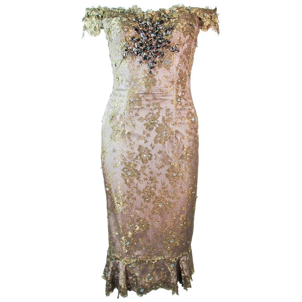 MANDALAY Gold Sequin Beaded Lace Cocktail Dress Size 4