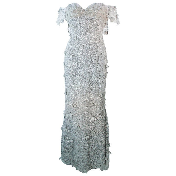 TONY WARD Silver Metallic Lace Gown Size 2-4