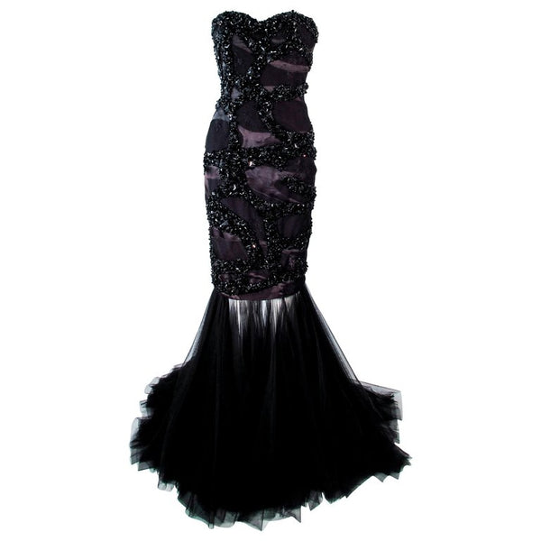 TONY WARD Black Beaded Mesh Detachable Gown Size 2-4