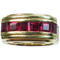 MOUAWAD 18 Karat Yellow Gold Diamond and Ruby Ring Size 6 3/4