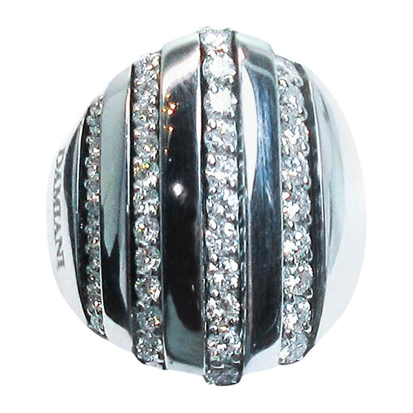 DAMIANI 18 Karat White Gold Diamond Accent Ring Size 7
