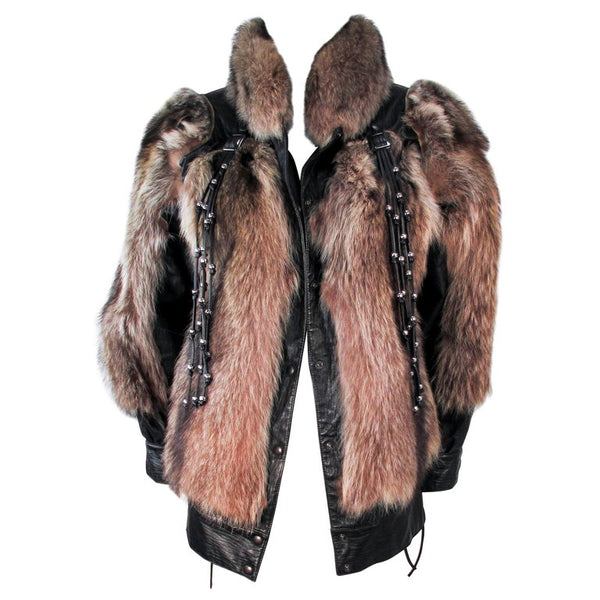 JACQUES SAINT LAURENT Raccoon Fur Jacket w/ Tassels Size 38