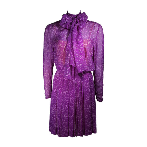 GIVENCHY Purple Silk Chiffon Dress and Belt Size Small