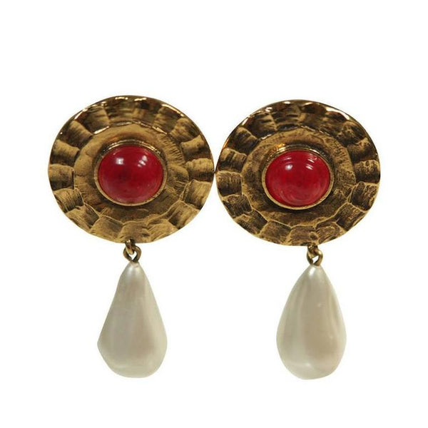 CHANEL Red Gripoix Center Gold Tone Clip-on Earrings w/Pearl Drop