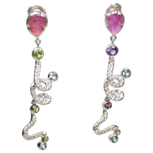 Multi Gemstone Ruby Diamond Gold Dangle Earrings