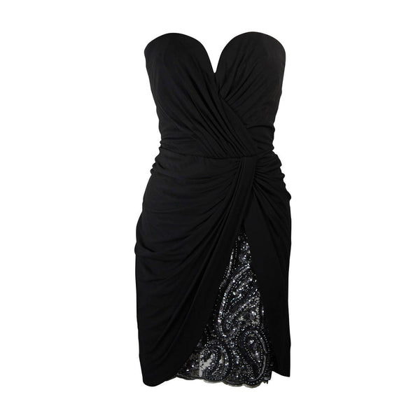 VICKY TIEL Black Jersey Cocktail Dress with Sequin Detail Size 38