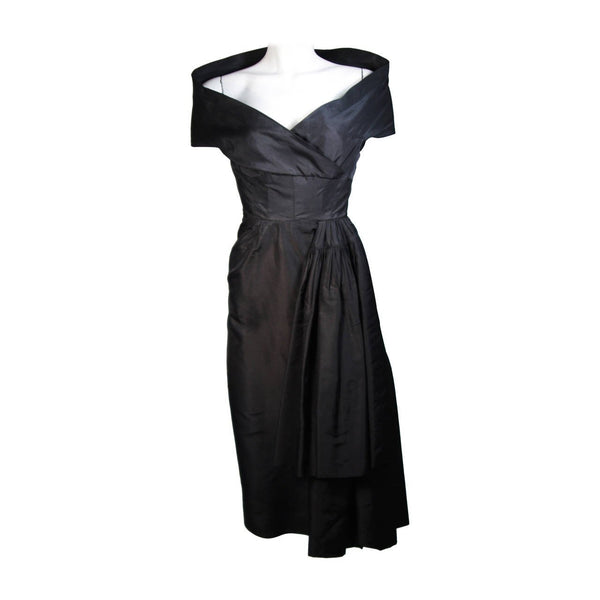 CEIL CHAPMAN  Black Cocktail Dress with Draped Detail Size Small