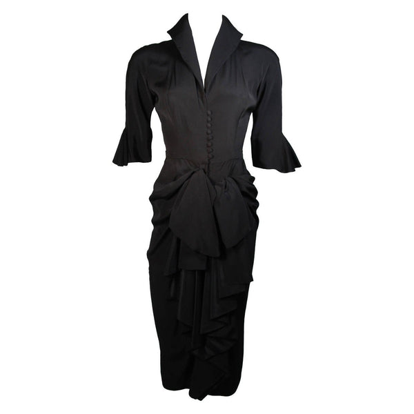 CEIL CHAPMAN Black Cocktail Gown with Bow Detail Size XS