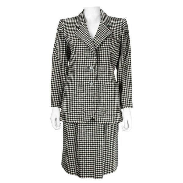 YVES SAINT LAURENT 1980s Rive Gauche Houndstooth Skirt Suit