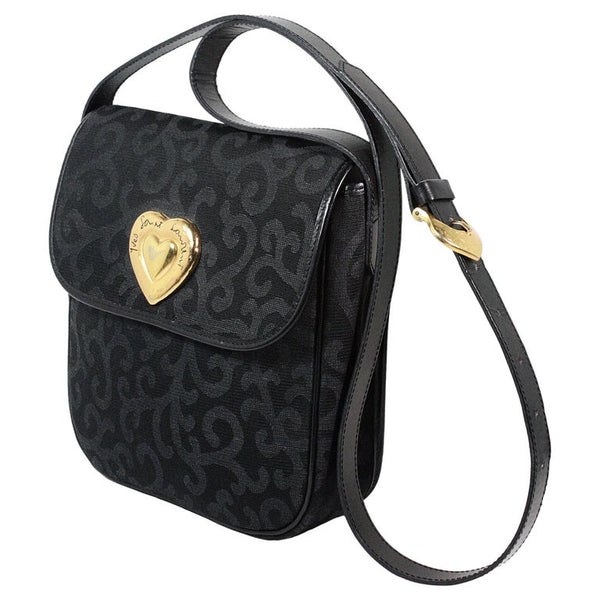 YVES SAINT LAURENT Circa 1980s Gold Heart Filigree Canvas Purse