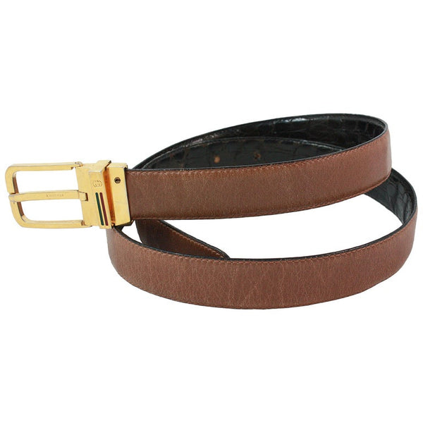 GUCCI Vintage Black & Brown Reversible Alligator Belt