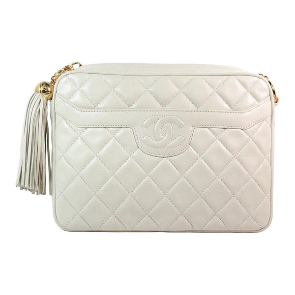 CHANEL 1990s Cream Quilted Leather Crossbody Bag