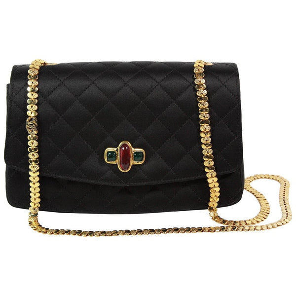 CHANEL 1990s Gripoix Gold Strap Quilted Black Satin Purse