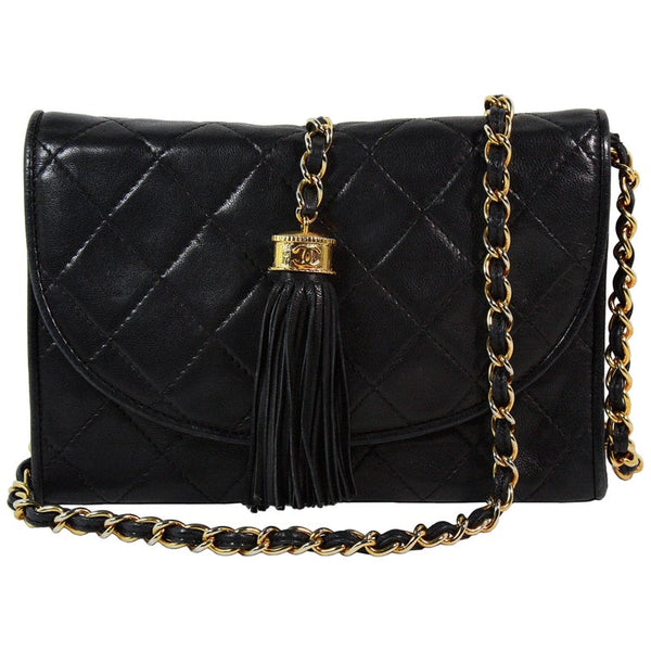CHANEL 1990s Quilted Black Leather Crossbody Bag with Tassel