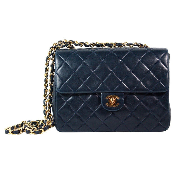 CHANEL 1990s Navy Leather Quilted Crossbody Bag