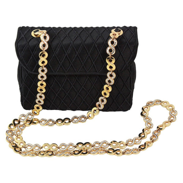 JUDITH LEIBER Black Satin Purse with Gold & Rhinestone Infinity Chain