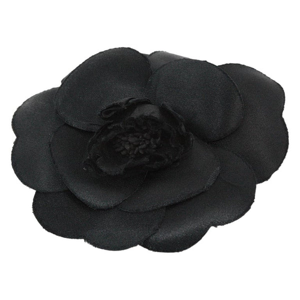 CHANEL 1985 Black Silk Camellia Brooch