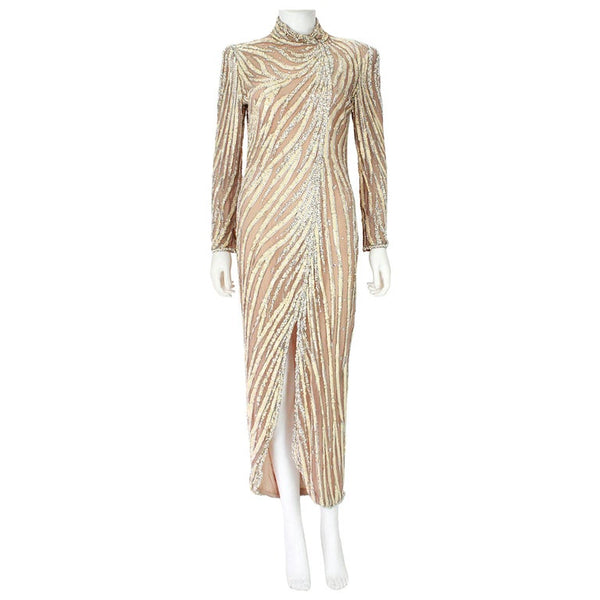 BOB MACKIE Circa 1980s Cream Beaded Gown