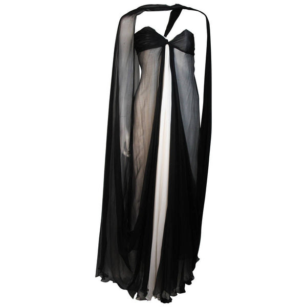 JACQUELINE DE RIBES Black and Ivory Silk Chiffon Gown