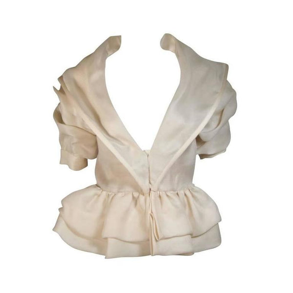 PAUL LOUIS ORRIER Ruffled Ivory Jacket with Structured Hem Size 40