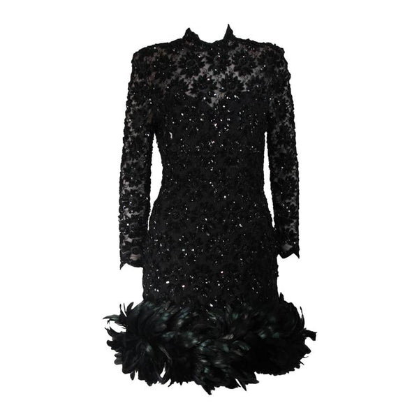 TRAVILLA Black Sequin Beaded Cocktail Dress with Feather Hem