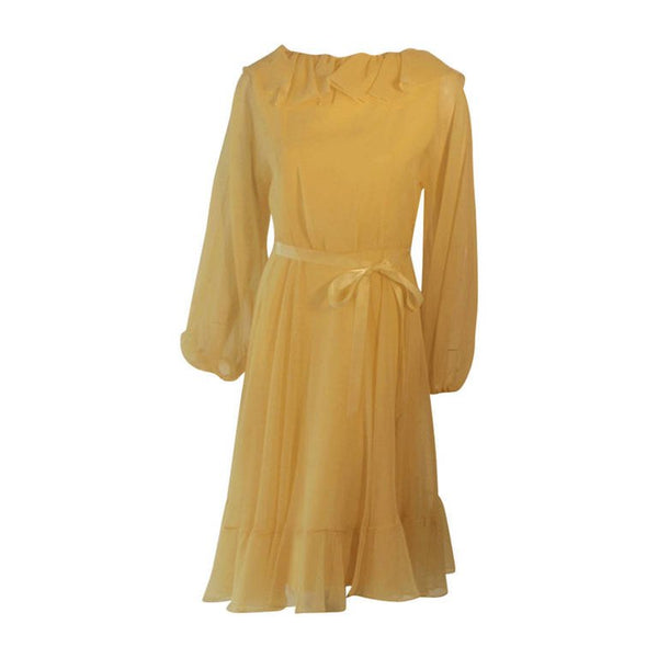 TRAVILLA 1970s Yellow Chiffon Cocktail Dress