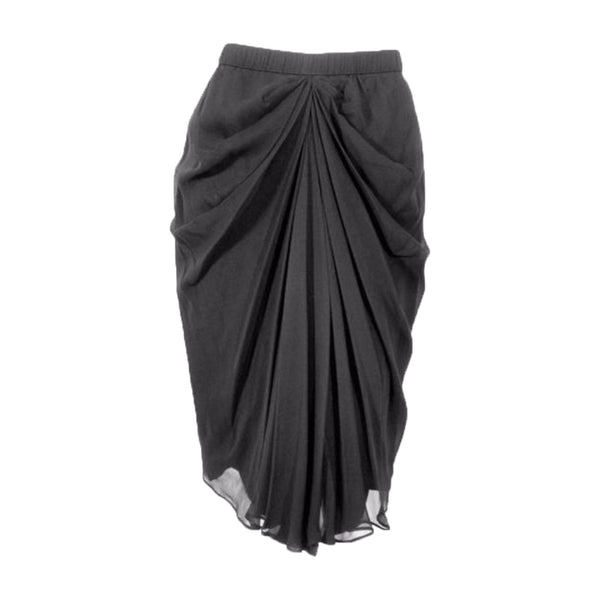 ADOLFO Black Silk Chiffon Skirt with Gathered Front
