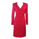 ARMANI Magenta Drape Silk Cocktail Dress Size 8-10. This Armani cocktail dress is composed of a magenta silk with a side draped design. Features a zipper closure. In excellent pre-owned condition, barely worn, if ever.