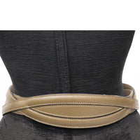 Alaia Olive Green Leather Belt W/ Gold Accents